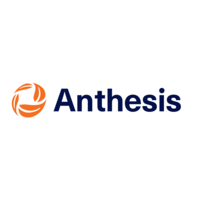 Orange symbol och Blå text Anthesis