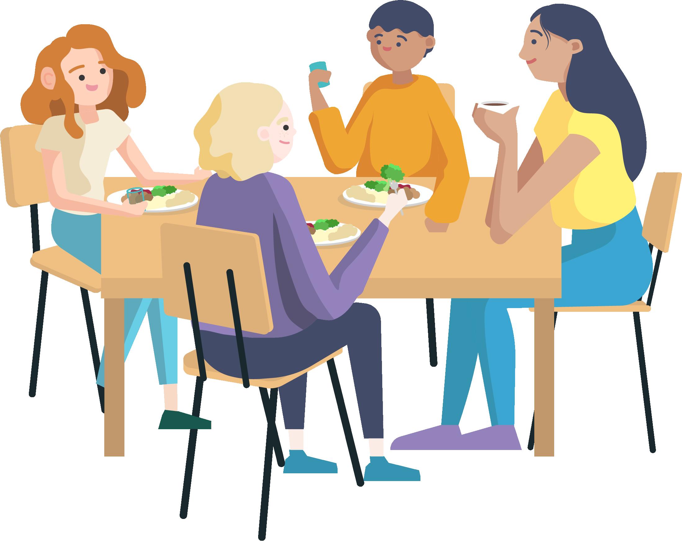 Tecknad bild fyra personer som sitter runt ett bord