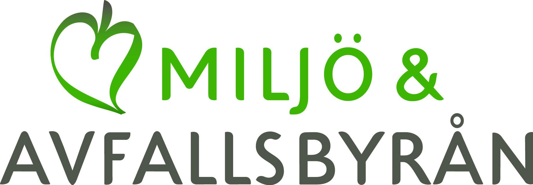 Text Miljö- och Avfallsbyrån med ett grönt löv