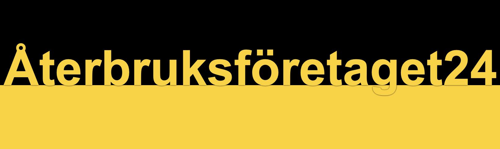 Text Återbruksföretaget24 på svart och gul botten