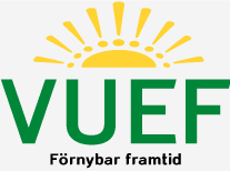 En sol och texten VUEF Förnybar framtid